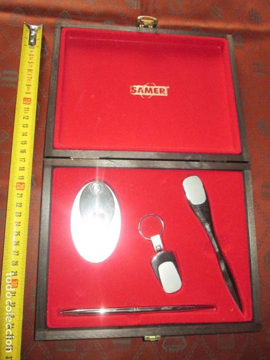 Estilográficas antiguas, bolígrafos y plumas: (7443)-juego escritorio-samer-acero inoxidable-caja madera-nos-ver fotos. - Foto 6 - 70180309