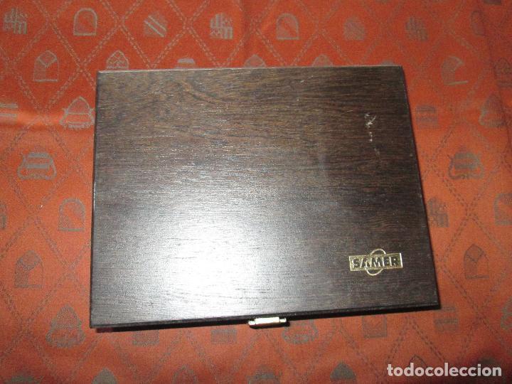 Estilográficas antiguas, bolígrafos y plumas: (7443)-juego escritorio-samer-acero inoxidable-caja madera-nos-ver fotos. - Foto 7 - 70180309