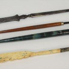 Estilográficas antiguas, bolígrafos y plumas: CONJUNTO DE 3 PLUMAS Y ABRECARTAS. ESPAÑA. SIGLO XX.. Lote 70921357