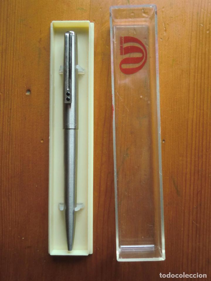 ESTUCHE CON BOLÍGRAFO INOXCROM 77 ACERO. SPAIN. AÑOS 70-80. (Plumas Estilográficas, Bolígrafos y Plumillas - Juegos y Conjuntos)