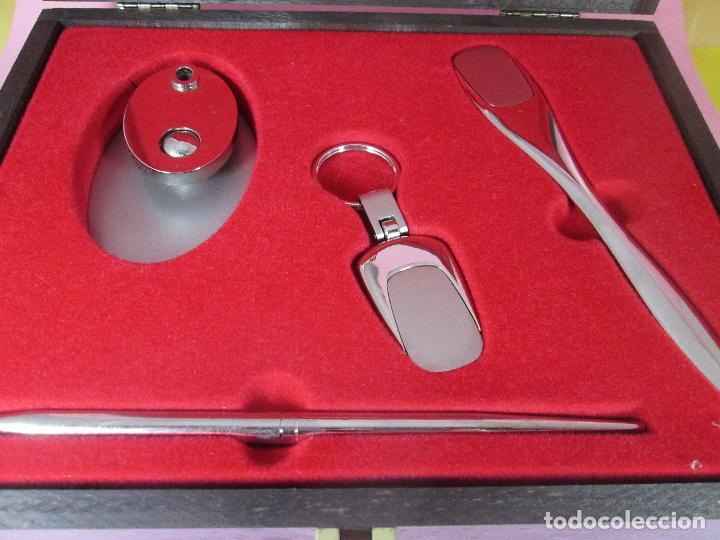 Estilográficas antiguas, bolígrafos y plumas: (7443)-juego escritorio-samer-acero inoxidable-caja madera-nos-ver fotos. - Foto 11 - 70180309