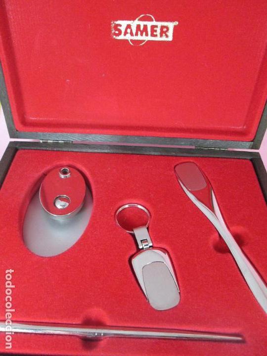 Estilográficas antiguas, bolígrafos y plumas: (7443)-juego escritorio-samer-acero inoxidable-caja madera-nos-ver fotos. - Foto 12 - 70180309