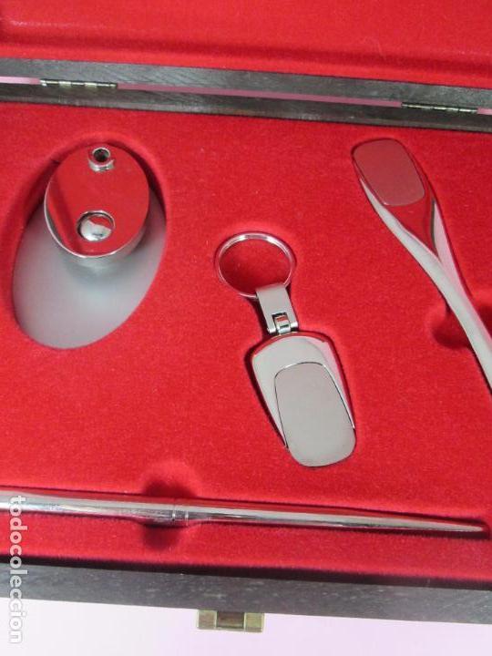 Estilográficas antiguas, bolígrafos y plumas: (7443)-juego escritorio-samer-acero inoxidable-caja madera-nos-ver fotos. - Foto 15 - 70180309