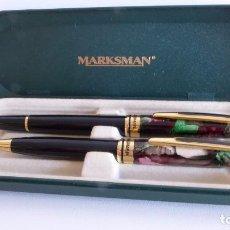 Estilográficas antiguas, bolígrafos y plumas: ESTUCHE CON BOLÍGRAFO Y PLUMA MARKSMAN. Lote 80981956