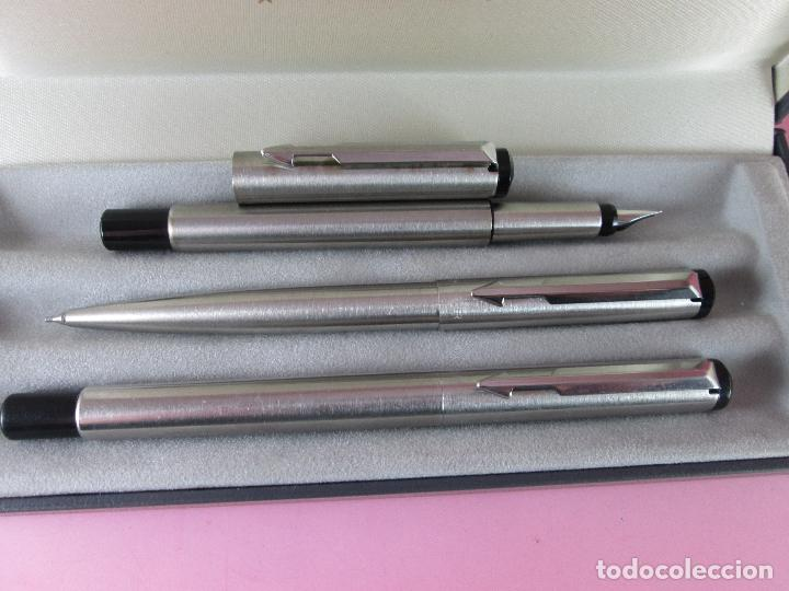 Estilográficas antiguas, bolígrafos y plumas: *(195)JUEGO-PLUMA+ROLLER+PORTAMINAS-PARKER VECTOR-FLIGHTER-CAJA - Foto 7 - 37373149