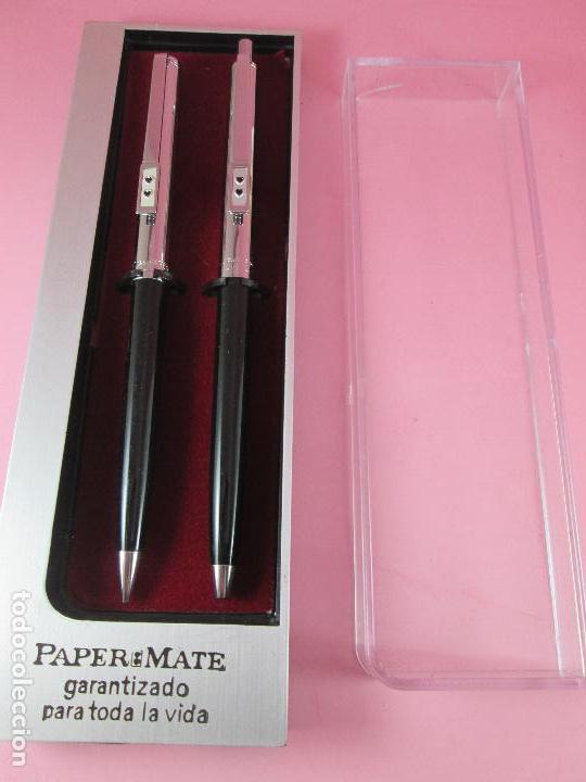 Estilográficas antiguas, bolígrafos y plumas: *(5985)-juego-bolígrafo+portaminas-paper mate profile-negro+cromo-nos-cajas-ver fotos- - Foto 9 - 84883456