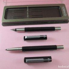 Estilográficas antiguas, bolígrafos y plumas: *(5961)-JUEGO-PLUMA+ROLLER-PARKER VECTOR.UK-NEGRO+ACERO-NOS-CAJA-VER FOTOS.. Lote 85866472