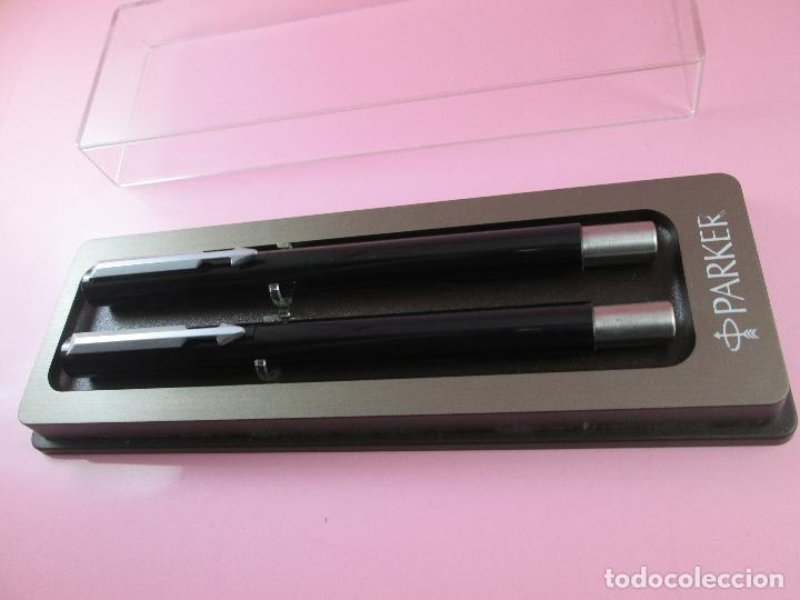 Estilográficas antiguas, bolígrafos y plumas: *(5961)-juego-pluma+roller-parker vector.uk-negro+acero-nos-caja-ver fotos. - Foto 3 - 85866472