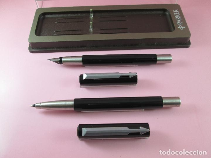 Estilográficas antiguas, bolígrafos y plumas: *(5961)-juego-pluma+roller-parker vector.uk-negro+acero-nos-caja-ver fotos. - Foto 6 - 85866472