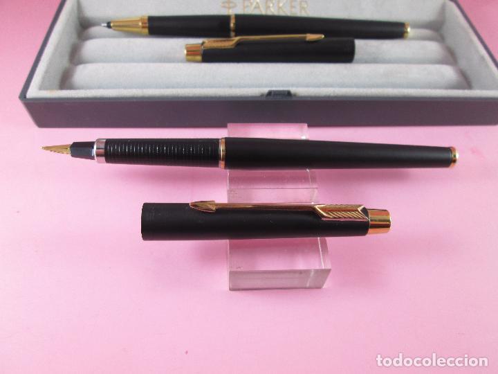 Estilográficas antiguas, bolígrafos y plumas: *(5968)-juego-pluma+roller-parker classic gt negro mate-plumín oro f-convertidor-excelente estado-ca - Foto 6 - 86729452
