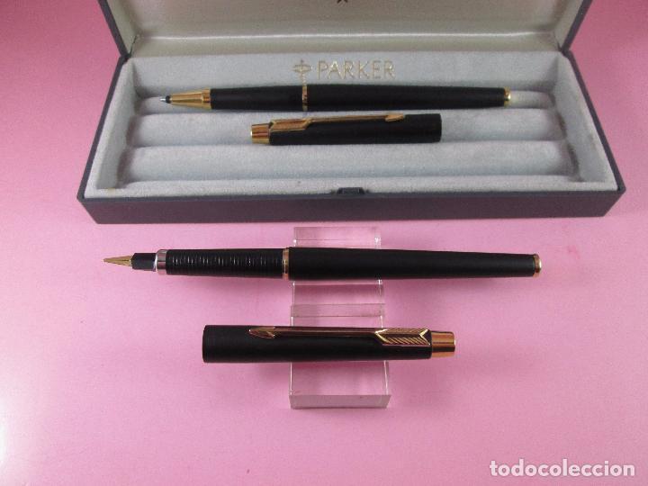 Estilográficas antiguas, bolígrafos y plumas: *(5968)-juego-pluma+roller-parker classic gt negro mate-plumín oro f-convertidor-excelente estado-ca - Foto 7 - 86729452