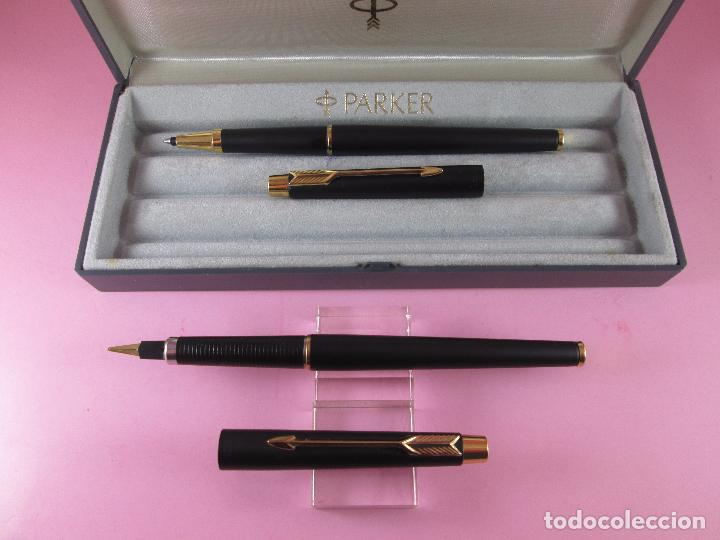 Estilográficas antiguas, bolígrafos y plumas: *(5968)-juego-pluma+roller-parker classic gt negro mate-plumín oro f-convertidor-excelente estado-ca - Foto 9 - 86729452