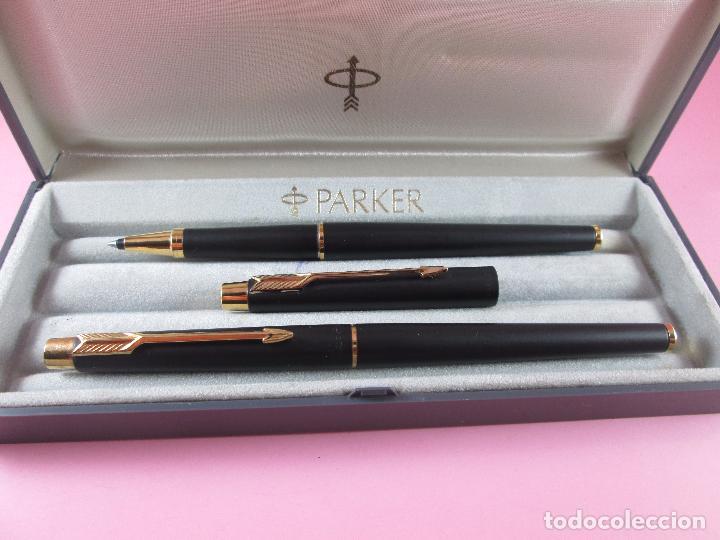 Estilográficas antiguas, bolígrafos y plumas: *(5968)-juego-pluma+roller-parker classic gt negro mate-plumín oro f-convertidor-excelente estado-ca - Foto 12 - 86729452