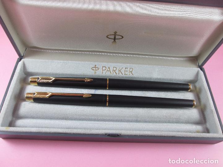 Estilográficas antiguas, bolígrafos y plumas: *(5968)-juego-pluma+roller-parker classic gt negro mate-plumín oro f-convertidor-excelente estado-ca - Foto 14 - 86729452