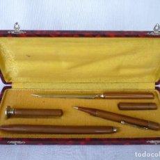 Estilográficas antiguas, bolígrafos y plumas: CAJA ESCRIBANÍA ESCRITURA LUJO EN AÑOS 40. Lote 87225104