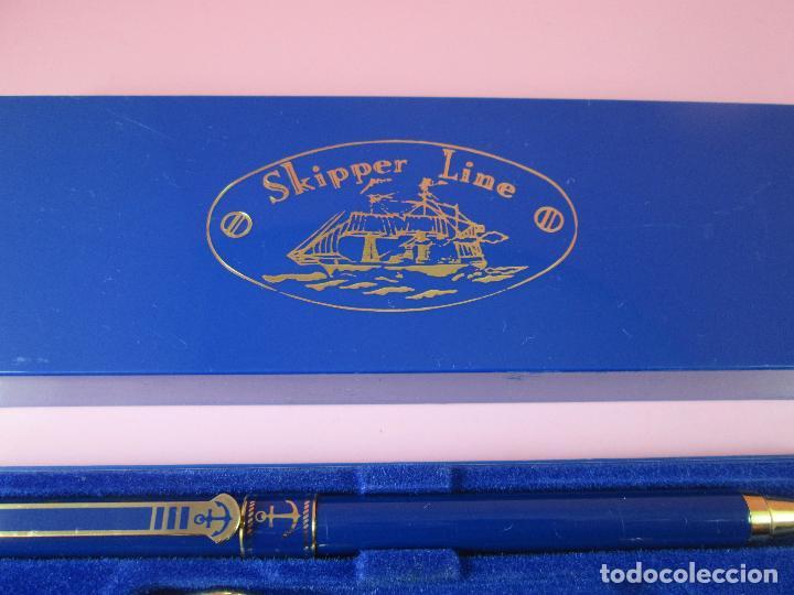 Estilográficas antiguas, bolígrafos y plumas: 9062/juego-bolígrafo+llavero-skipper line-preciosos azules y dorados-caja-nuevo-ver fotos - Foto 3 - 88309816