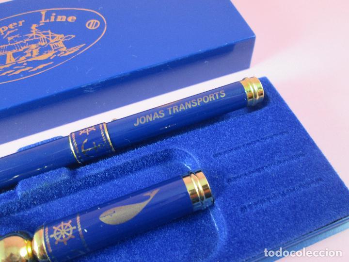 Estilográficas antiguas, bolígrafos y plumas: 9062/juego-bolígrafo+llavero-skipper line-preciosos azules y dorados-caja-nuevo-ver fotos - Foto 4 - 88309816