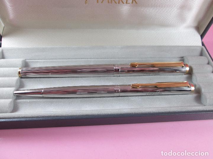 Estilográficas antiguas, bolígrafos y plumas: *(5949)-juego-parker 95-pluma estilográfica+bolígrafo-plata-convertidor-perfecto-papel-contrastes - Foto 7 - 88725248