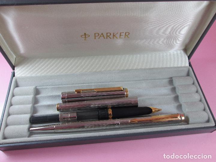 Estilográficas antiguas, bolígrafos y plumas: *(5949)-juego-parker 95-pluma estilográfica+bolígrafo-plata-convertidor-perfecto-papel-contrastes - Foto 13 - 88725248