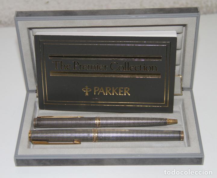 CONJUNTO PARKER PREMIER COLLECTION. PLUMÍN PARKER ORO 18K. PLATA. FRANCIA. 1994 (Plumas Estilográficas, Bolígrafos y Plumillas - Juegos y Conjuntos)