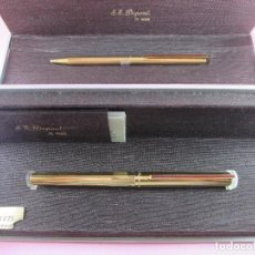 Estilográficas antiguas, bolígrafos y plumas: *4872-JUEGO-ST.DUPONT-PLUMA+BOLÍGRAFO CLASSIQUE-PERFECTO-GRABADO:JC-CAJAS-CONVERTIDOR-PAPEL-VER FOT. Lote 90240460