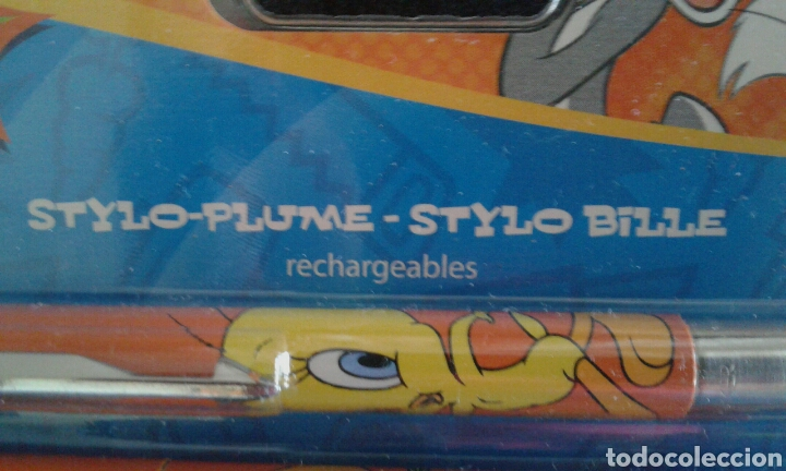 Estilográficas antiguas, bolígrafos y plumas: Blíster estuche plumier, pluma estilográfica y bolígrafo Parker Looney Tunes años 90 - Foto 3 - 91542302