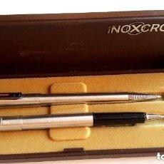 Estilográficas antiguas, bolígrafos y plumas: INOXCROM 1800 ROTULADOR FINO Y BOLIGRAFO PLATEADOS FUNCIONAN . Lote 92355285