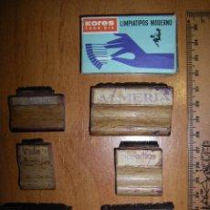 Estilográficas antiguas, bolígrafos y plumas: LOTE DE SELLOS DE CAUCHO. 6 SELLOS Y UNA CAJA DE LIMPIATIPOS . Lote 95152903