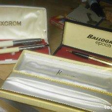 Estilográficas antiguas, bolígrafos y plumas: LOTE CON PLUMA Y BOLIGRAFOS INOXCROM BALLORGRAF. Lote 95568335