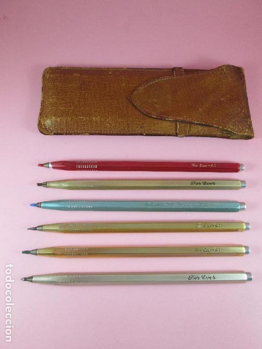 Estilográficas antiguas, bolígrafos y plumas: NN-juego 6 portaminas+funda-for ever-diversos-funda piel-antiguos-ver fotos. - Foto 2 - 100001599