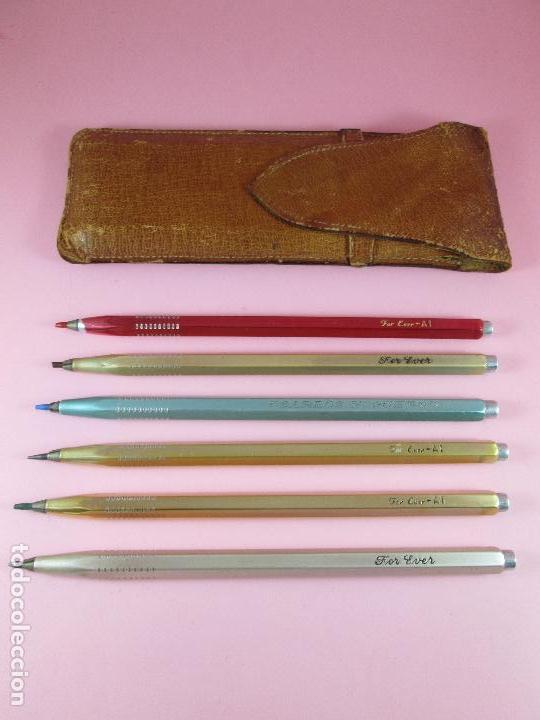 Estilográficas antiguas, bolígrafos y plumas: NN-juego 6 portaminas+funda-for ever-diversos-funda piel-antiguos-ver fotos. - Foto 8 - 100001599