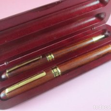 Estilográficas antiguas, bolígrafos y plumas: 9060/JUEGO-BOLIGRAFO+PLUMA ESTILOGRAFICA+ESTUCHE MADERA-BUEN ESTADO-VER FOTOS. Lote 23428527