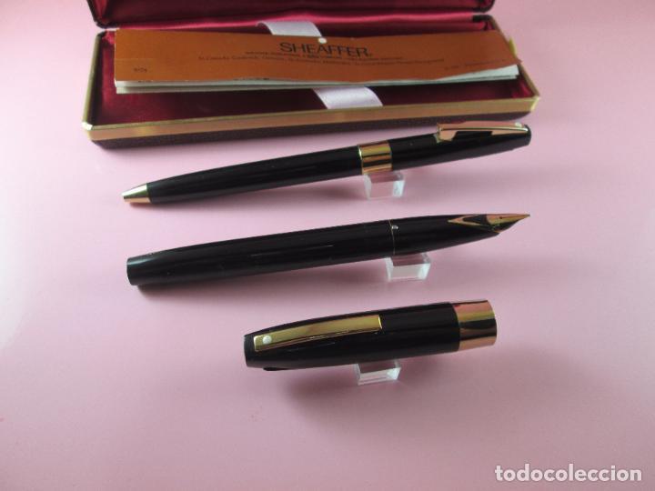 Estilográficas antiguas, bolígrafos y plumas: N8837-PLUMA+BOLÍGRAFO-SHEAFFER IMPERIAL 550-NEGRA+CONVERTIDOR-ORO-papel-caja - Foto 8 - 44519065