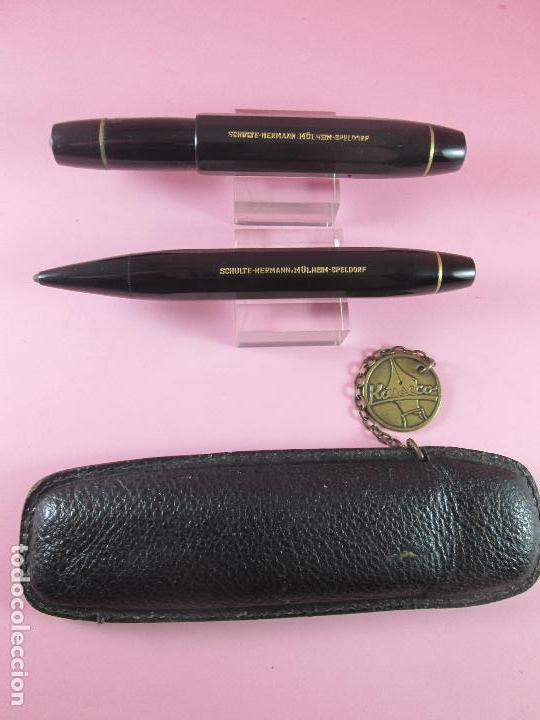 Estilográficas antiguas, bolígrafos y plumas: 1133/JUEGO-PLUMA+PORTAMINAS-KAWECO SPORT 55-NEGRO+DORADOS-FUNDA PIEL ORIGINAL - Foto 15 - 34085850