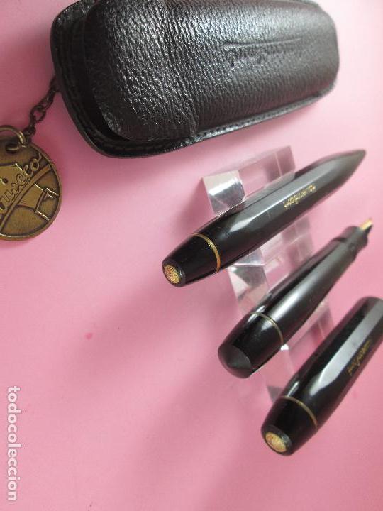 Estilográficas antiguas, bolígrafos y plumas: 1133/JUEGO-PLUMA+PORTAMINAS-KAWECO SPORT 55-NEGRO+DORADOS-FUNDA PIEL ORIGINAL - Foto 11 - 34085850