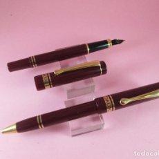 Estilográficas antiguas, bolígrafos y plumas: 4265-JUEGO-PLUMA+BOLIGRAFO-DACOC-BURDEOS+DORADO-COMO NUEVO.. Lote 30240044