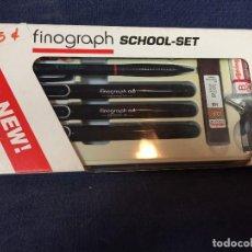 Estilográficas antiguas, bolígrafos y plumas: ROTRING FINOGRAPH SCHOOL SET RESISTENTE AL AGUA 0,2/ 0,4/ 0,5/0,8 20 X 11 X 2 CM 215 GR. Lote 110317551