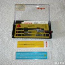 Estilográficas antiguas, bolígrafos y plumas: ROTRING, JUEGO CON ESTUCHE CON 5 PUNTAS + 2 REGLAS PLANTILLAS ROTRING Y STAEDTLER. Lote 116711543