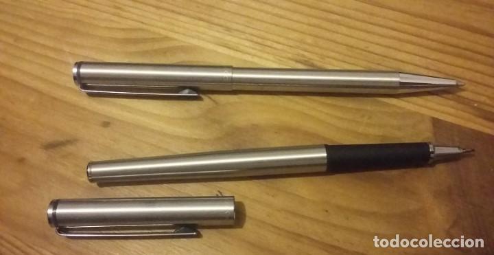 Estilográficas antiguas, bolígrafos y plumas: Inoxcrom. Juego boligrafo y roller modelo 1800 en caja original años 80. - Foto 2 - 118798091