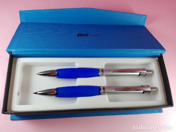 Estilográficas antiguas, bolígrafos y plumas: 5040-juego-bel bol-azul+cromo-nuevo-caja-ver fotos - Foto 2 - 119147919