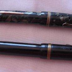 Estilográficas antiguas, bolígrafos y plumas: LOTE DE DOS PLUMAS ESTILOGRAFICAS DE PALANCA ANTIGUAS. Lote 121070535