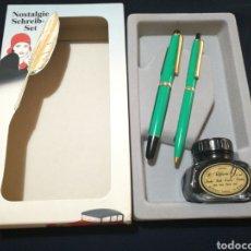 Estilográficas antiguas, bolígrafos y plumas - Juego vintage de bolígrafo, pluma y tintero - 121434250
