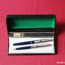 Estilográficas antiguas, bolígrafos y plumas: ANTIGUO JUEGO DE PLUMA Y BOLIGRAFO SUPER T OLIMPIA EN ESTUCHE ORIGINAL *. Lote 122116339