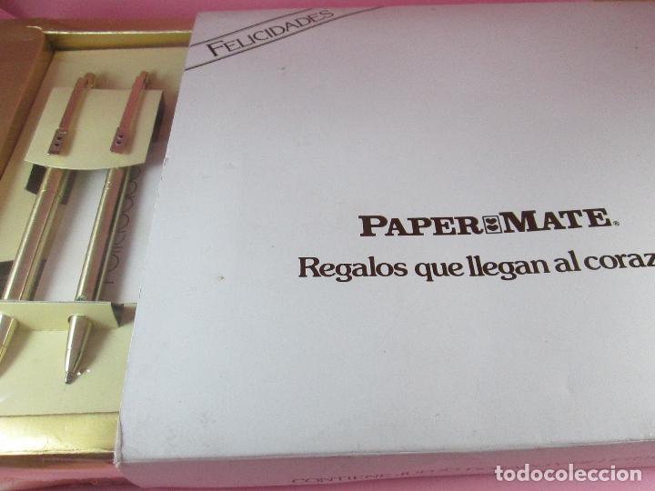 Estilográficas antiguas, bolígrafos y plumas: juego-paper mate CHROME-bolígrafo+portaminas+billetera piel-precintada-ver fotos. - Foto 5 - 122304339
