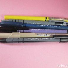 Estilográficas antiguas, bolígrafos y plumas: LOTE DE 3 BOLÍGRAFOS+2 PORTAMINS-PAPER MATE-FUNCIONANDO-VER FOTOS. Lote 122876999