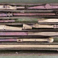 Estilográficas antiguas, bolígrafos y plumas: CONJUNTO DE TIRALINEAS Y COMPASES. LATÓN. SIGLO XIX-XX. . Lote 123127187