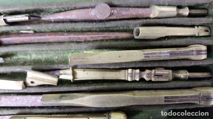 Estilográficas antiguas, bolígrafos y plumas: CONJUNTO DE TIRALINEAS Y COMPASES. LATÓN. SIGLO XIX-XX. - Foto 3 - 123127187