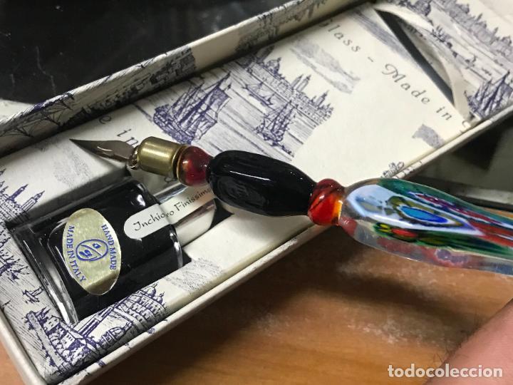 Estilográficas antiguas, bolígrafos y plumas: PLUMA DE CRISTAL DE MURANO CON TINTERO - Foto 6 - 123551543