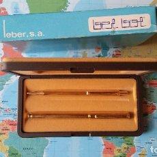 Estilográficas antiguas, bolígrafos y plumas: CONJUNTO DE PLUMA Y BOLÍGRAFO BEL BOL, DE LEBER. AÑOS 80. Lote 128966683