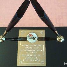 Estilográficas antiguas, bolígrafos y plumas: PARKER DOUBLE BALL POINT DESK SET BLACK JET CRYSTAL BASE 8123. Lote 129081931
